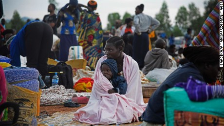 A Ugandan woman and child being repatriated from Juba in July 2016.