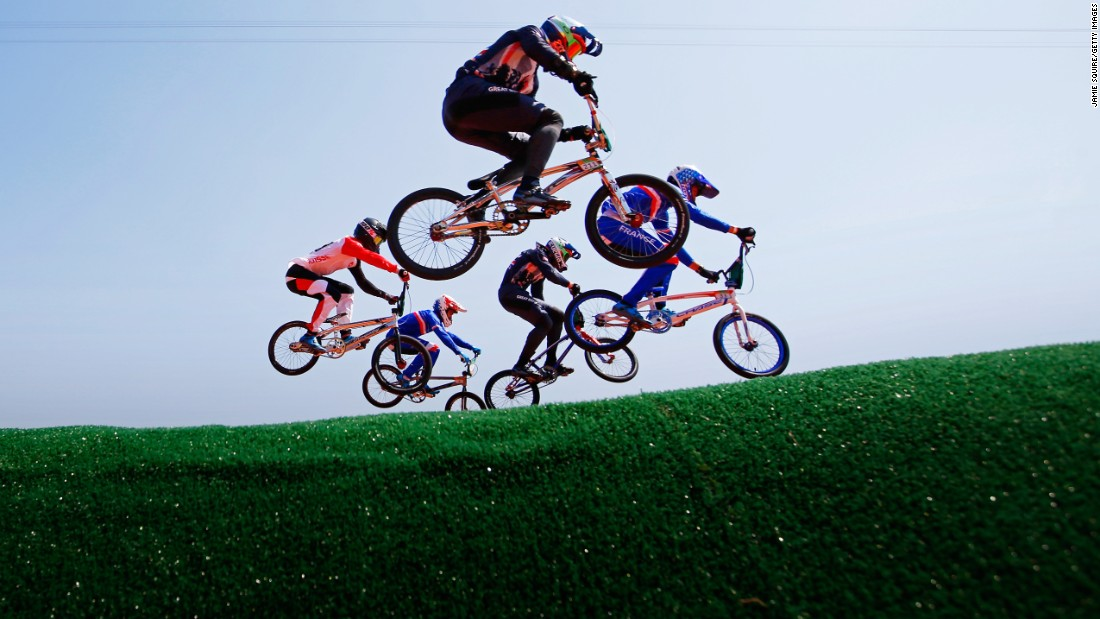 BMX riders practice prior to the individual seeding event.