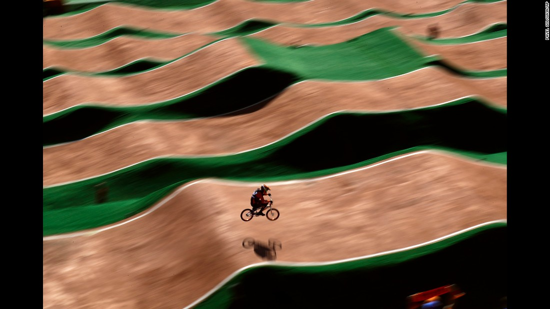 Jelle van Gorkom, a cyclist from the Netherlands, competes in a men's seeding run at the Olympic BMX Center.