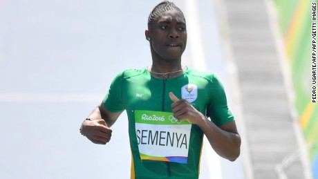 Semenya competes in the women's 800m heat at Rio 2016.