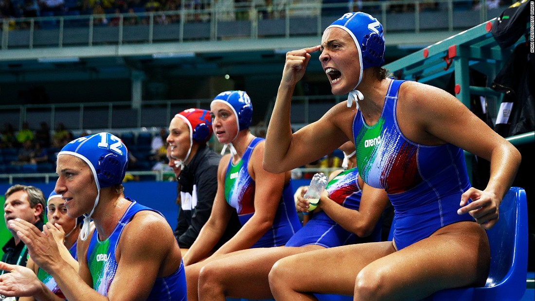 Italy's Chiara Tabani, right, reacts during the water polo semifinal against Russia. Italy won 12-9.