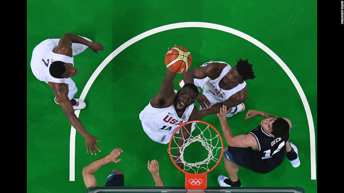 U.S. center DeAndre Jordan grabs a rebound during the quarterfinal game against Argentina. The Americans won 105-78.