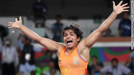 India's Malik celebrated after winning bronze in Rio.