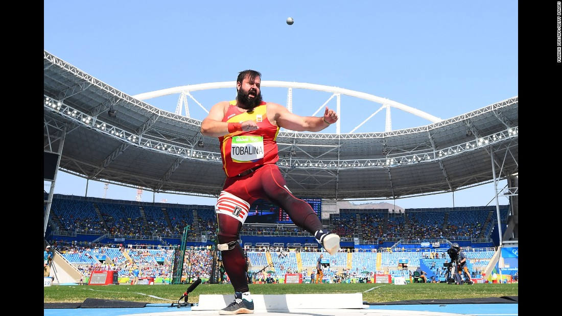 Spain's Carlos Tobalina takes part in the shot put.