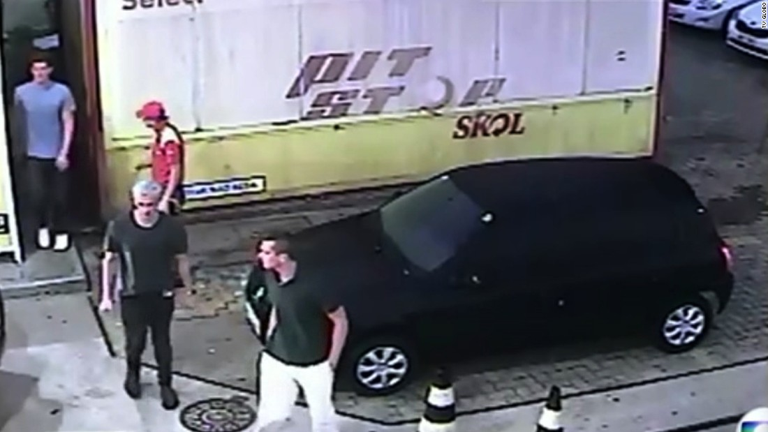 "Brazil's Globo media group released surveillance footage that shows U.S. swimmers Ryan Lochte, James Feigen, Jack Conger and Gunnar Bentz at a gas station in Rio de Janeiro early on Sunday, August 14. The Olympians said they were robbed at gunpoint there by men in police uniforms. Brazilian police <a href=""http://www.cnn.com/2016/08/18/sport/us-swimmers-olympics-robbery-questions/index.html"" target=""_blank"">said the athletes concocted a story</a> to cover up an act of vandalism that led to a confrontation with security guards."