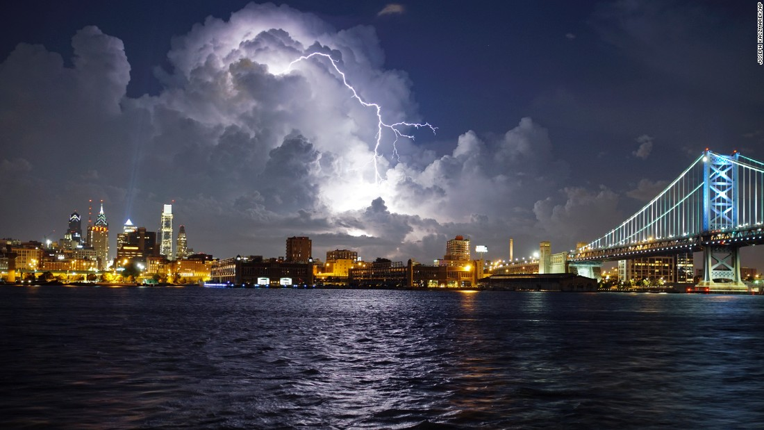 "Lightning illuminates storm clouds over the Philadelphia skyline on Tuesday, August 16. <a href=""http://www.cnn.com/2016/08/12/world/gallery/week-in-photos-0812/index.html"" target=""_blank"">See last week in 30 photos</a>"