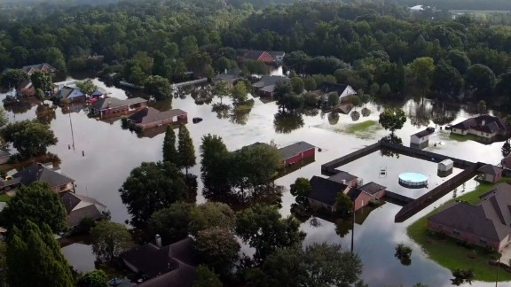 Aerial shots of flooding in Louisiana