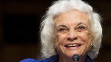 "Former Supreme Court Justice Sandra Day O'Connor giving testimony before the Senate Judiciary Committee Full committee hearing on ""Ensuring Judicial Independence Through Civics Education"" on July 25, 2012 in Washington, DC. AFP PHOTO/ Karen BLEIER (Photo credit should read KAREN BLEIER/AFP/GettyImages)"