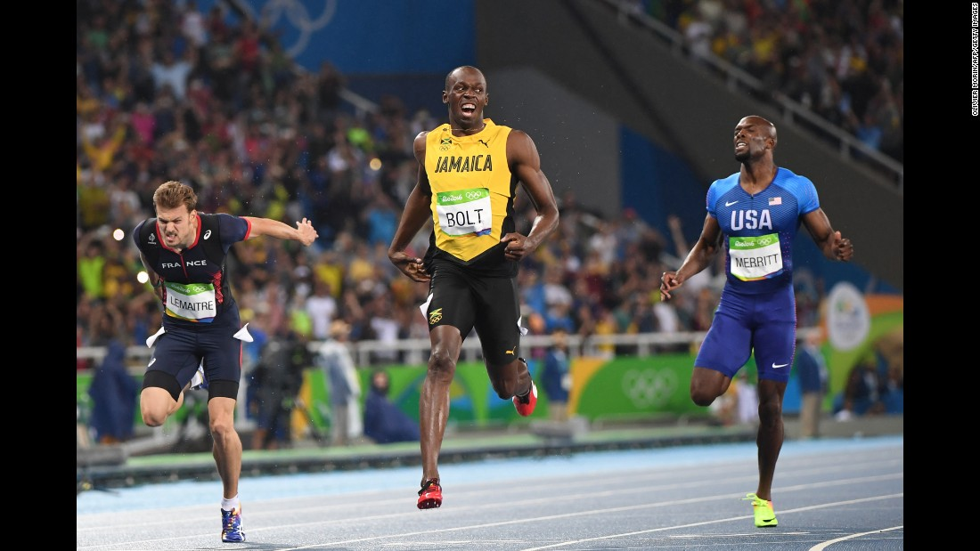 "Jamaica's Usain Bolt crosses the finish line <a href=""http://www.cnn.com/2016/08/18/sport/usain-bolt-200m-rio/index.html"" target=""_blank"">to win the 200 meters</a> for the third consecutive Olympics on Thursday, August 18. Bolt has also won three straight golds in the 100 meters."