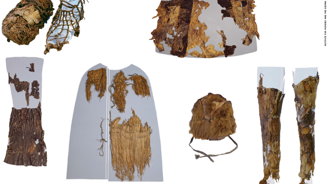 The Iceman's clothing was well-preserved, considering how long it was exposed to the elements. From top left: A shoe with grass interior (left) and leather exterior (right), the leather coat (reassembled by the museum), leather loincloth, grass coat, fur hat, and leather leggings.
