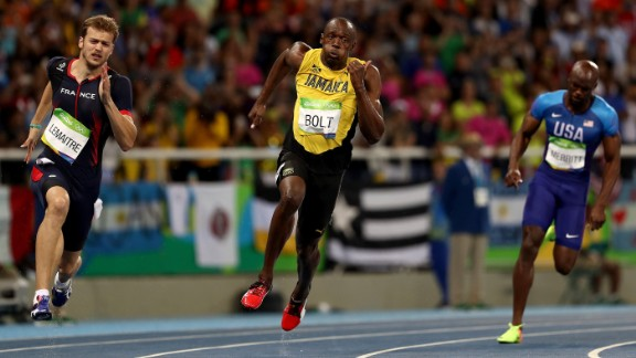 Bolt  was straining every sinew on his way to victory.