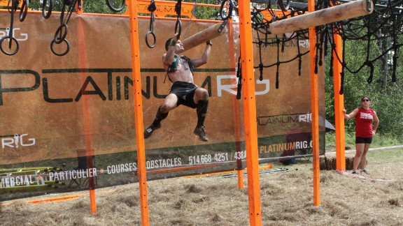"""This """"rig"""" has multiple ways to swing across, all of them difficult, especially coming near the end of the course."""