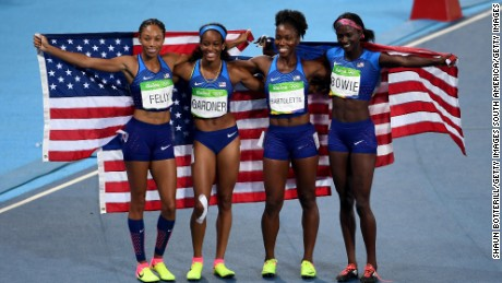 English Gardner, Allyson Felix, Tianna Bartoletta and Tori Bowie of the United States celebrate winning gold in the women's 4 x 100m relay final in Rio.