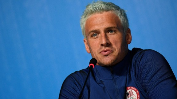 US swimmer Ryan Lochte holds a press conference on August 3, 2016 in Rio de Janeiro, two days ahead of the opening ceremony of the Rio 2016 Olympic Games.