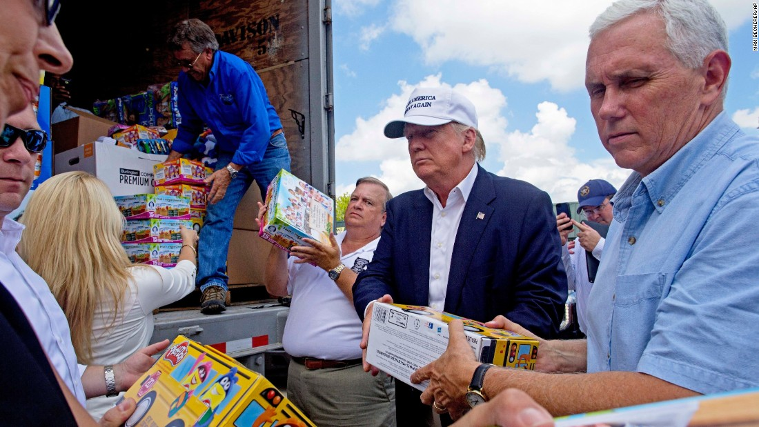 "Donald Trump and his running mate, Indiana Gov. Mike Pence, help unload supplies for flood victims <a href=""http://www.cnn.com/2016/08/18/politics/trump-pence-headed-to-baton-rouge/"" target=""_blank"">during a visit</a> to Gonzales, Louisiana, on Friday, August 19. The two were in the state following <a href=""http://www.cnn.com/2016/08/16/us/louisiana-flooding-by-the-numbers/"" target=""_blank"">mammoth flooding</a> in and around Baton Rouge."