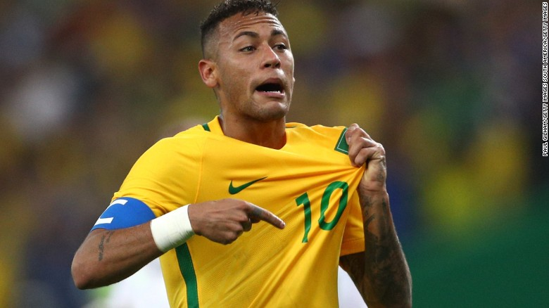 neymar reacts after opening the scoring in the men 39 s olympic football final