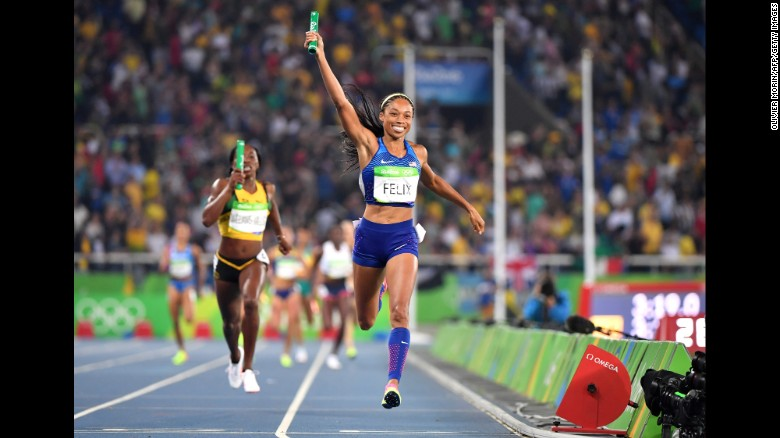 USA's Allyson Felix celebrates as she crosses the finish line to win the Women's 4x400m Relay Final in Rio.