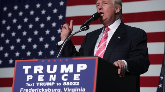 Republican presidential nominee Donald Trump speaks to voters during a campaign rally at Fredericksburg Expo Center August 20, 2016 in Fredericksburg, Virginia.