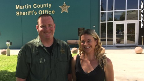 Brianna Brynes reunites with Deputy Justin Albauer after a traffic stop in August 2015 put her on the road to recovery.