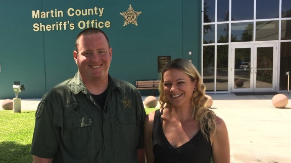 Brianna Byrnes reunites with Deputy Justin Albauer after a traffic stop in August 2015 put her on the road to recovery.