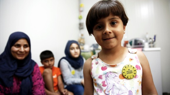Six-year-old Noura from Syria is trapped in Greece with her mother, two brothers and one sister. Noura hasn't been to school for over a year, and her mother says she's lost 2kg since arriving.