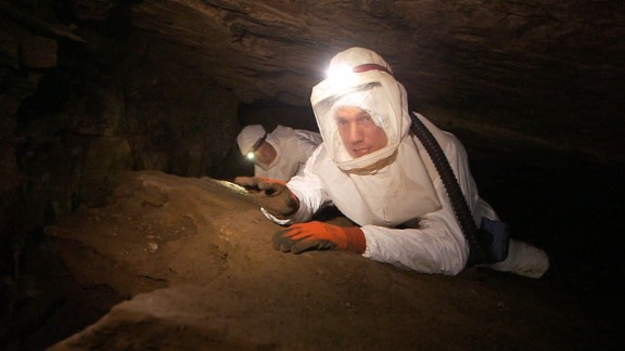 The cave is inhabited by thousands of bats, any of which could be carrying deadly diseases such as Ebola, Marburg or rabies.