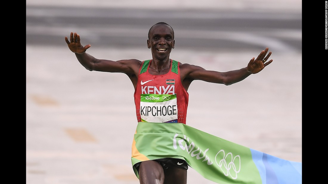 "Kenya's Eliud Kipchoge <a href=""http://www.cnn.com/2016/08/21/sport/rio-2016-marathon-kipchoge-rupp/"" target=""_blank"">wins the marathon</a> on Sunday, August 21."