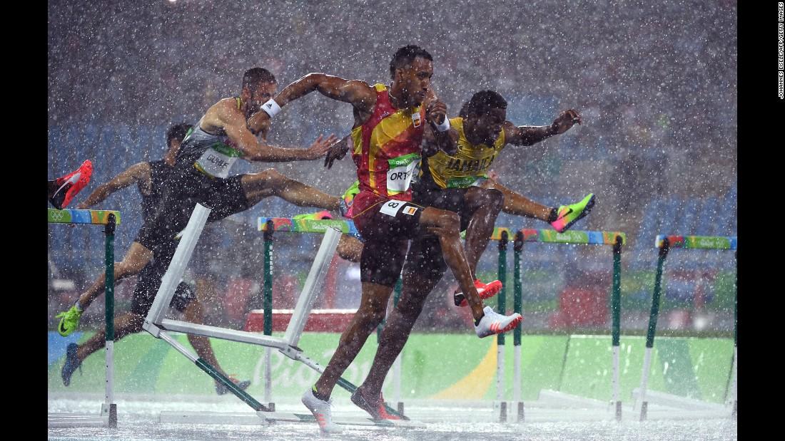 Spain's Orlando Ortega leads a group of hurdlers during a 110-meter heat on Monday, August 15. He would go on to win silver.