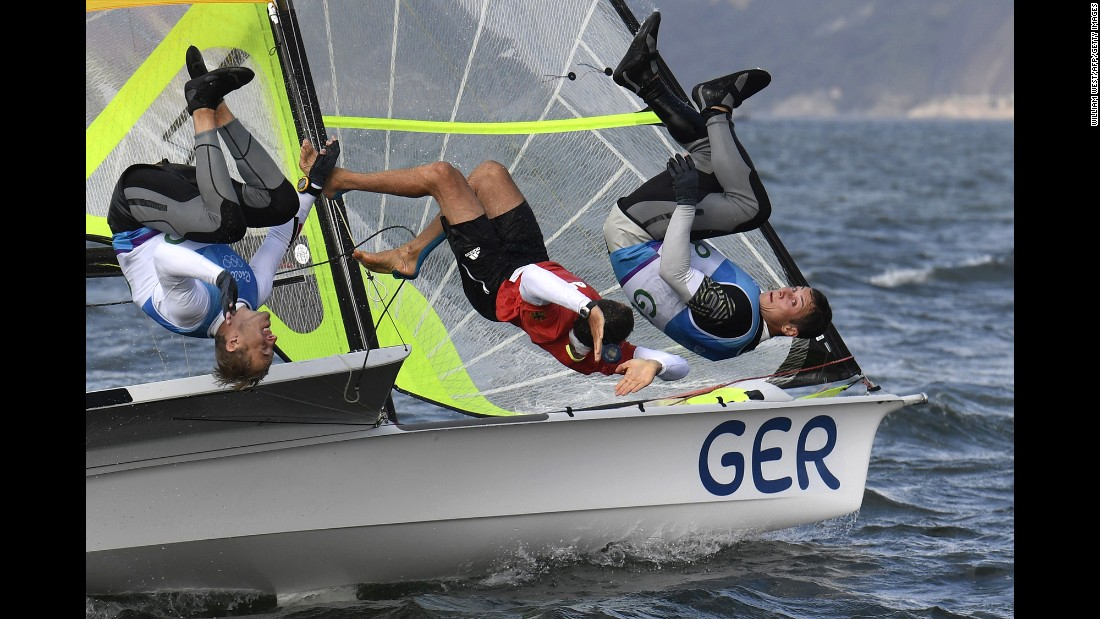 German sailors Erik Heil and Thomas Ploessel celebrate bronze in the 49er class.