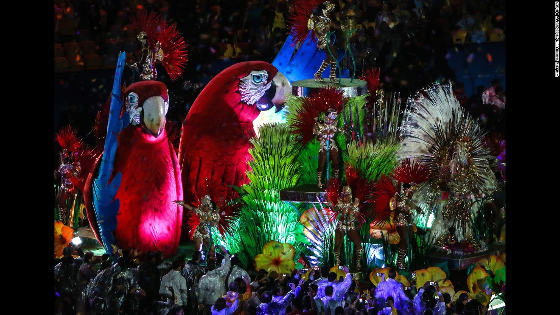 A colorful float is seen during the closing ceremony on Sunday, August 21.