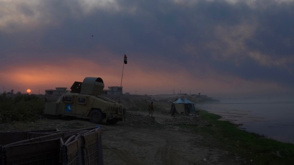 On the banks of the Tigris river, Iraqi forces extended a pontoon bridge to gain access into the al-Qayyara region.