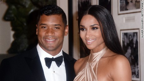 Russell Wilson and Ciara at the State dinner in honor of Japan's Prime Minister in April 2015 at the White House.