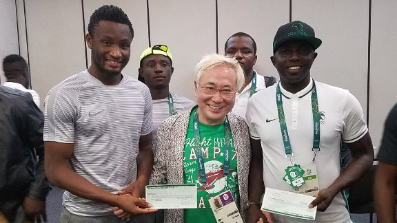 Katsuya Taksau with Mikel John Obi and Samson Siasia