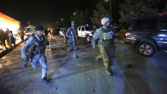 """Afghan security forces rush to respond to a complex Taliban attack on the campus of the American University in the Afghan capital Kabul on Wednesday, August. 24, 2016. """"We are trying to assess the situation,"""" President Mark English told The Associated Press."""
