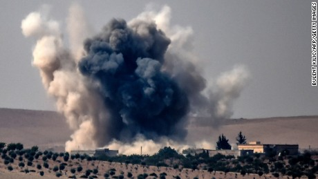 Smoke billows after a Turkish airstrike Wednesday on Jarablus, Syria.
