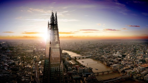 The Shard -- seen here at sunset -- towers over London