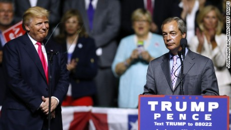Nigel Farage appeared with then-candidate Donald Trump at a rally in Mississippi in September 2016.
