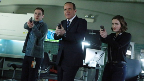 """Agents of S.H.I.E.L.D."" Season 5 premiere : Clark Gregg, Iain De Caestecker, and Elizabeth Henstridge star in this hit Marvel series. (Hulu)"