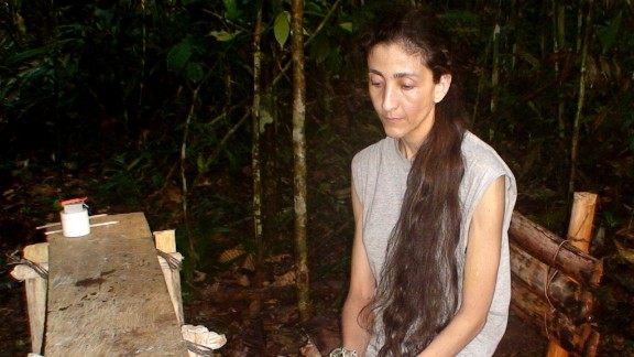 An undated picture shows Ingrid Betancourt during her time as a FARC hostage in the jungle.