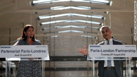 London Mayor Sadiq Khan meets his Paris counterpart, Anne Hidalgo, in the French capital Thursday.