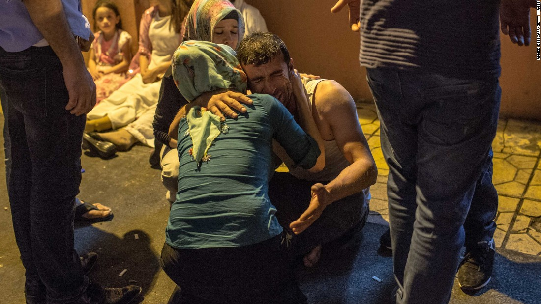 "People grieve after an attack on a Kurdish wedding in Gaziantep, Turkey, on Saturday, August 20. <a href=""http://www.cnn.com/2016/08/22/europe/turkey-wedding-blast-gaziantep/"" target=""_blank"">Turkish officials believe</a> the attack was the work of ISIS and said at least 22 of the more than 50 victims were under  age 14."