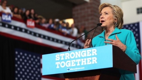 Democratic presidential nominee former Secretary of State Hillary Clinton speaks during a campaign even at Truckee Meadows Community College on August 25 in Reno, Nevada.  Hillary Clinton  delivered a speech about republican presidential nominee Donald Trump's policies.