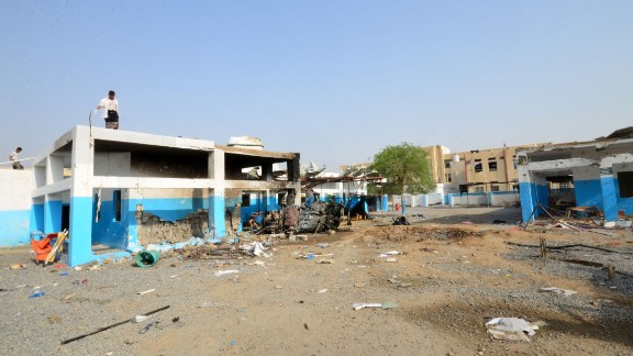 This image shows the damage done by an airstrike to a hospital in Yemen, run by MSF, on August 15.
