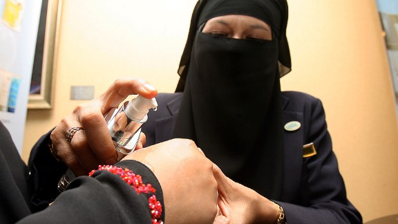 Halal cosmetics being tried at a trade show in Kuala Lumpur.