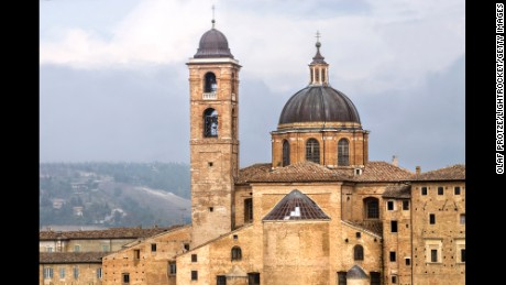 The cathedral in Urbino was one of the sites damaged in Wednesday's earthquake.