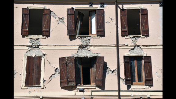 An old building in Amatrice is partly damaged after the quake.