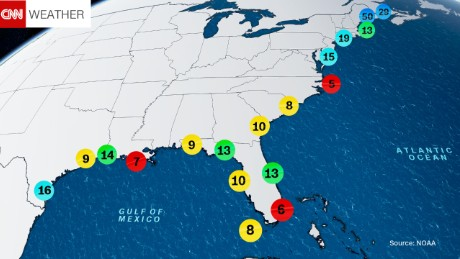 Estimated return period in years for hurricanes passing within 50 nautical miles of various locations on the U.S. Coast.