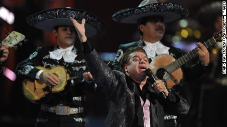 Singer Juan Gabriel performs during the Latin Grammy Awards show at the Mandalay Hotel in Las Vegas, Nevada on November 5, 2009.              AFP PHOTO/Mark RALSTON (Photo credit should read MARK RALSTON/AFP/Getty Images)