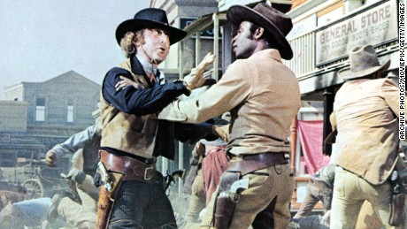 Gene Wilder gets into an altercation with Cleavon Little in a scene from the film 'Blazing Saddles', 1974. (Photo by Warner Brothers/Getty Images)