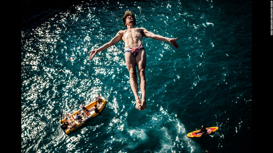 Gary Hunt trains Friday, August 26, in Polignano a Mare, Italy -- the fifth stop of the Red Bull Cliff Diving World Series. Hunt is the defending world champion and current series leader.